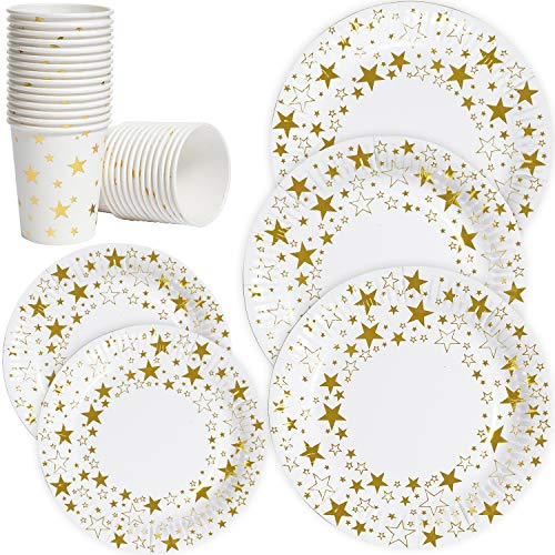 Disposable Everyday Paper Plates and Cups Set,7'/9' Dinner and Dessert Plates-100 Count,Biodegradable 9oz Hot Cup-50 Pcs,Gold Dot Printed Disposable Plate for Bridal Baby Shower,Wedding,Birthday Party