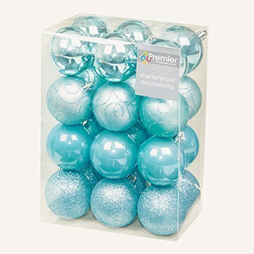 24 Pack Shatter Proof Christmas Baubles Multi Finish Ice Blue