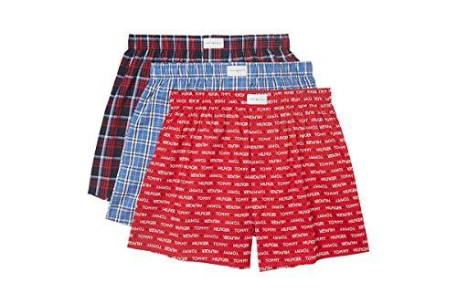 Tommy Hilfiger Men's Underwear Multipack Cotton Classics Woven Boxer, Scarlet (Multi 3 Pack), M