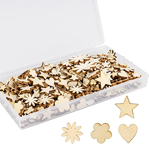 Kimi-HOSI - Confezione da 300 mini decorazioni in legno naturale a forma di fiore in legno a forma di cuore, fette in legno a forma di stella, per scrapbooking, fai da te