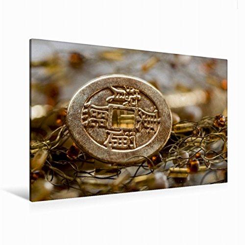 Premium Textil-Leinwand 120 x 80 cm Quer-Format chinesische Münze | Wandbild, HD-Bild auf Keilrahmen, Fertigbild auf hochwertigem Vlies, Leinwanddruck von Sonja Teßen