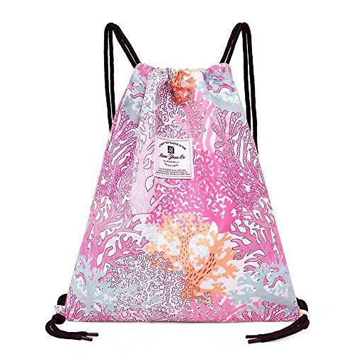 Drawstring Bag Dry Wet Floral Backpack Waterproof Lightweight Tote Pool Beach Travel Gym Bags (Pink)