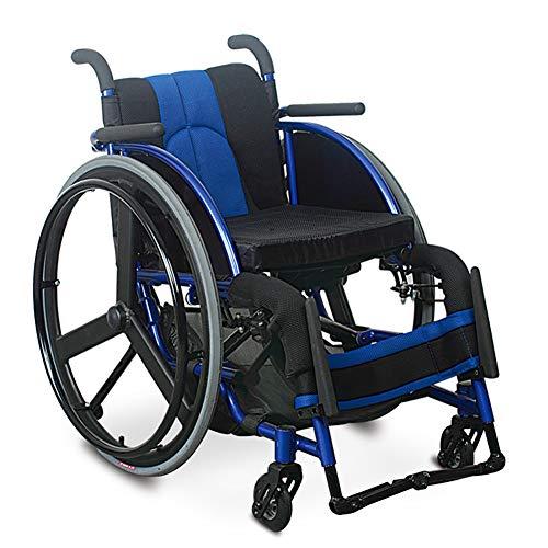 Rollstuhl Kind, Rollstühle mit Selbstantrieb Faltbar Kippschutz Mit Bremsen und dickere atmungsaktive Kissen Reiserollstuhl Sitzbreite 36cm Blau,Blau