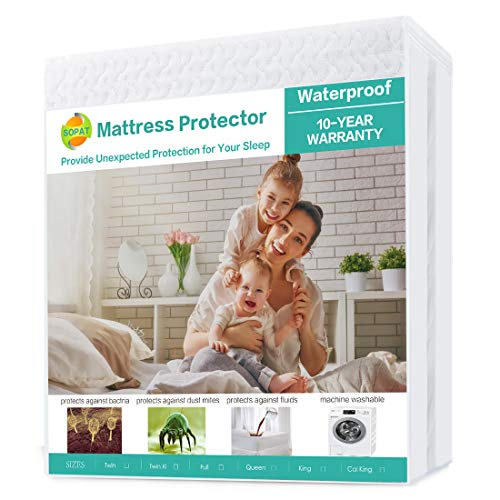 SOPAT Mattress Protector Mattress Overlays100% Waterproof Mattress Pad Cover 3D Air Fabric, Hypoallergenic Breathable Soft Cover-Vinyl Free(Super King 180x200cm, White)