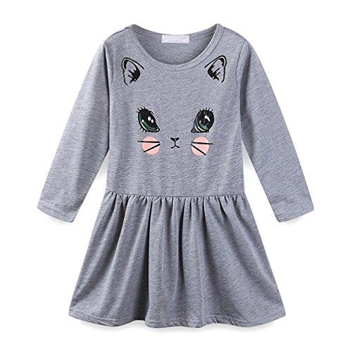 LittleSpring 春秋 キッズ 女の子 ワンピース 長袖Tシャツ フレアスカート 切り替え 子供ドレス aライン かわいい 猫ちゃん プリント グレー2-130