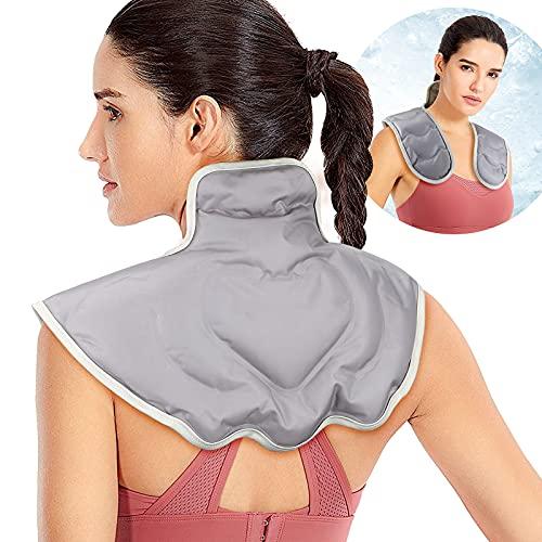 LHFD Compresa de frío,con una Bolsa de Hielo de Gel calmante para los Hombros, un Babero Calefactor en Forma de U para los Hombros y el Cuello, una Bolsa de compresas frías