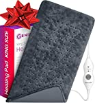 """XL Heating Pad - Electric Heating Pad for Moist and Dry Heat Therapy - Fast Neck/Shoulder/Back Pain Relief at Home - 12"""" x 24"""", GENIANI (Tabby Gray) (Navy Gray)"""