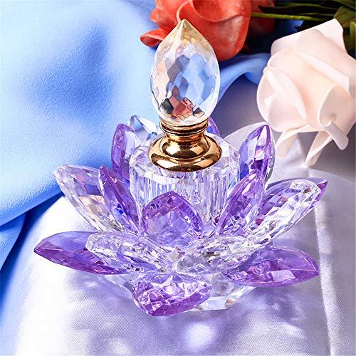 TYGJB Crystal Lotus Flower Incensario Figuras Miniaturas Feng Shui Botella de Perfume de Vidrio para decoración del hogar Regalos para Recuerdos de Boda (Púrpura)