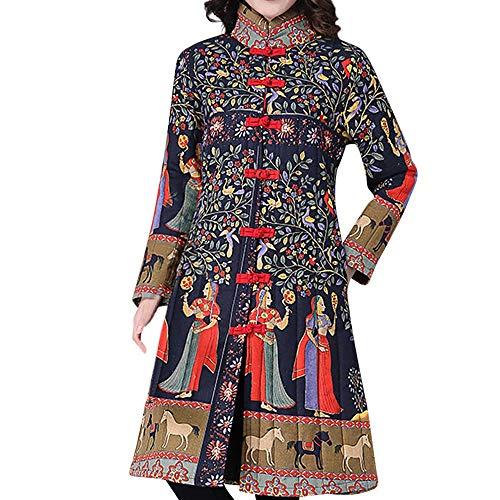 Toimoth Women Stand Collar Chinese Style Costume Plus Size Winter Button Coat Folk-Custom Cotton-Padded Jacket(Brown,XXXL)