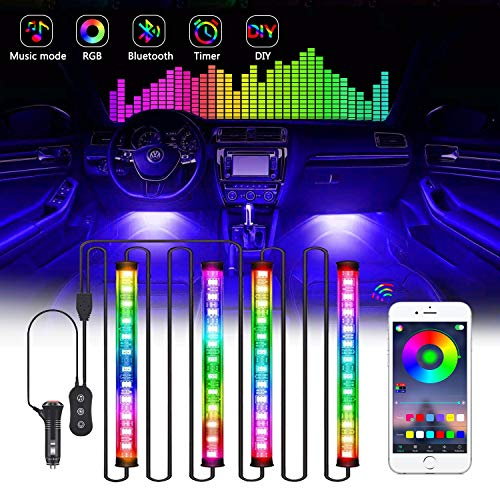 Gintenco Interior Car Lights,4 Pcs 48 LED RGB Car Interior Lights Multicolor Music Led Strip Lighting Kit with USB Plug&APP Controller,Waterproof Led Strip Lights for Various Car, DC 12V