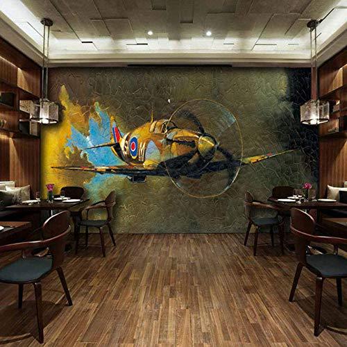 Retro Nostalgie Cafe Bar 3D Fotobehang achtergrond 3D Fotobehang behang Kleding Vliegtuig Groot behang slaapkamer 430 * 300Cm