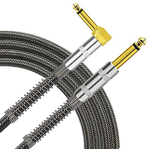 TISINO Gitarrenkabel, 3 m 6,35 mm TS Rechter Winkel zum geraden Gitarreninstrumentenkabel für E-Gitarre, Bass, Verstärker, Keyboard, Mandoline - Schwarz