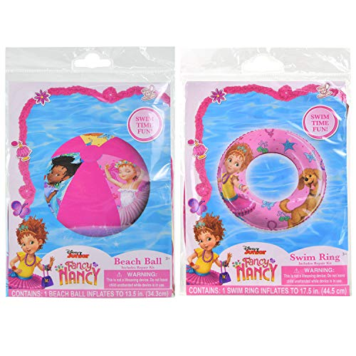 Disney Fancy Nancy Inflatable Swimming Float Ring 17.5 inches and Beach Ball 13.5 inches (2 Items) | Pool Beach Summer Party Accessory Air Blow Swim Floater Outdoor Fun Water Activity Toy for Kids