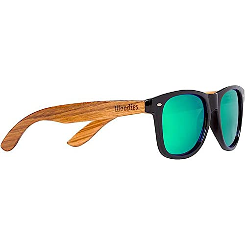 33b20233f00e WOODIES Zebra Wood Sunglasses with Green Mirror Polarized Lenses
