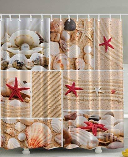 Presock Duschvorhänge, Seaside Decor Sea Star Sea Rock Limpet Honeymoon Bathroom Art Prints Beach Shell Photos Print Aquatic Deluxe Fabric Shower Curtain Burgundy Sand Khaki Cream