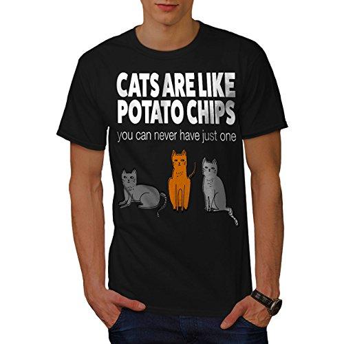 wellcoda Katzen Kartoffel Pommes Frites Männer T-Shirt, Lustig Grafikdesign gedruckt Tee