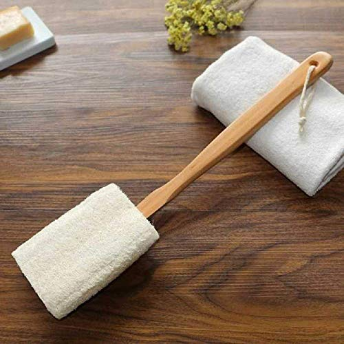 100% Natural Exfoliating Loofah luffa loofa Bath Brush On a Stick - With Long Wooden Handle Back Brush For Men & Women - Shower Sponge Body Back Scrubber