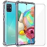 Annhao Funda Samsung Galaxy A71 + Cristal Templado, Transparente TPU Ultrafina Cuatro Esquinas...