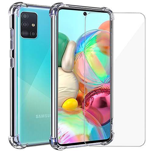 Annhao Funda Samsung Galaxy A71 + Cristal Templado, Transparente TPU Ultrafina Cuatro Esquinas Anti-Caídas Suave Silicona Anti arañazos, Case para Samsung Galaxy A71