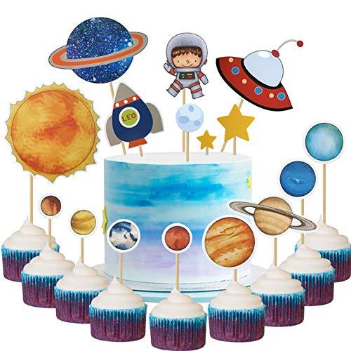 34 szt. DIY astronauta motyw eksploracji układ słoneczny ozdoby na babeczki rakieta kosmos autobus rakieta gwiazda ciasto kostki dla dzieci urodziny przyjęcie