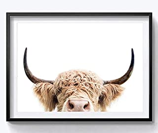 HYD Art Highland Cow Farm Animal Canvas Wall Art Prints for Living Room Decoration 8 x 10 Inches,No Frame