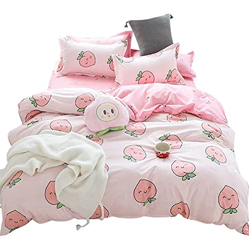 Children Cartoon Home Textiles Bedding Set Small Fresh Series Cute Peach Pink Duvet Cover Queen King Size Linen Comforter Set Double Single The Comfy for Girl Boy Adult,Full