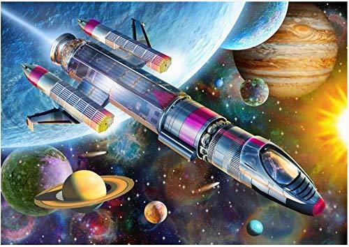 Fototapete 3D Effekt Vlies Design Tapete Bilder Wandbild Modern Dekoration Handgezeichnete Cartoon Weltraum Rakete Kinderzimmer Fototapete Schlafzimmer Wandbilder Wohnzimmer