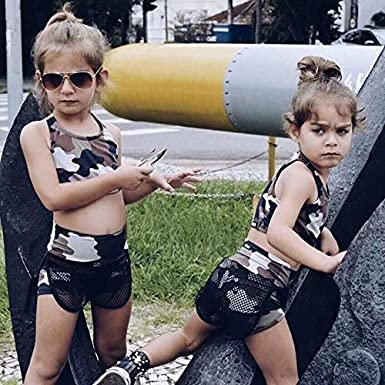 Kids Infant Baby Girls Summer 2Pcs Outfit Camouflage Sleeveless Crop Top High Waist Shorts Clothes Set