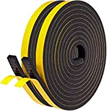 Fowong Weather Stripping 12mm(W) x 6mm(T) Gasket Seal Foam Tape,Door Draught Excluder for Door Window Anti-Collision Shockproof Furniture Protective, Door Draft Excluder with 2 Pcs,Total 8M Long.