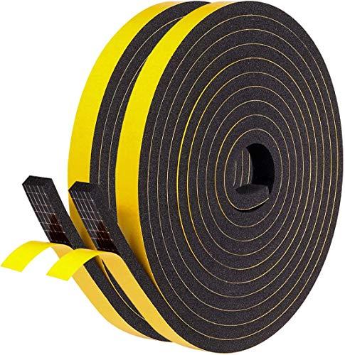 Fowong Bande adhésive en mousse auto-adhésive à cellules fermées pour fenêtre et porte 12mm*6mm*4m, 2 pcs total 8m de long