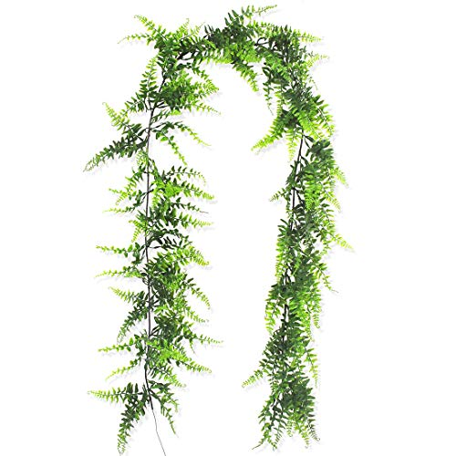 5.8 Ft Artificial Vine Boston Fern Bush Fake Vine Plants Greenery Ferns Plants Vines Hanging Plant for Home Jungle Beach Birthday Leave Table Decor