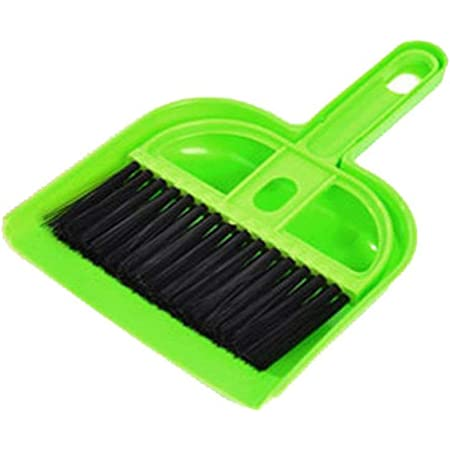 Hozzby Enterprise Set Mini Dustpan Supdi with Brush Broom Set for Multipurpose Cleaning Laptops, Keyboards, Dining Table, Car Seats, Carpets (Green)