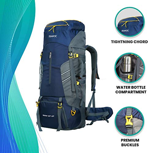 TRAWOC 65 L Travel Backpack for Outdoor Sport Camp Hiking Trekking Bag Camping Rucksack MHK001 1 Year Warranty (Navy Blue)