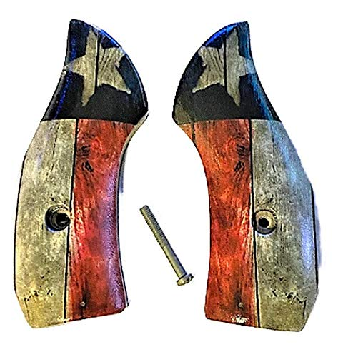 Premium Gun Grips Compatible Replacement for S&W Low Profile J Frame Grips Round Butt w HD Picture of Rustic Texas Flag UV Printed on Acrylic.