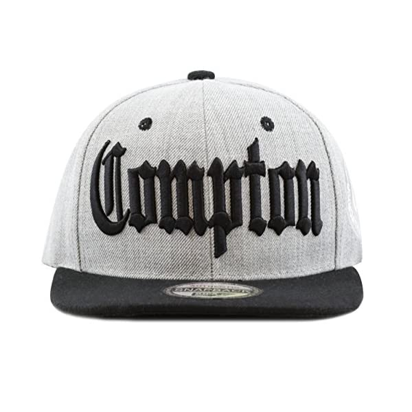 """The Hat Depot """"Compton 3D Embroidered Heather Grey Snap Back Baseball Hat"""