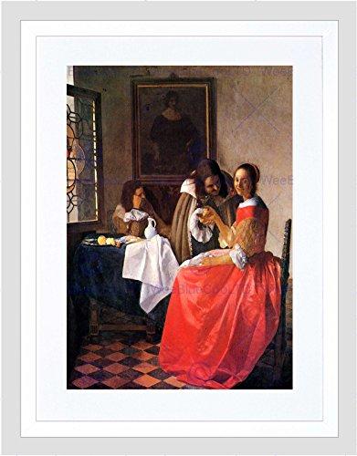 Wee Blue Coo Vermeer Meisje Met Een Wijnglas Oude Meester Ingelijste Muur Art Print
