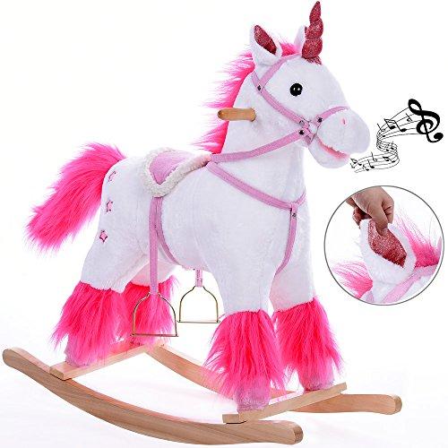 Deuba Rocking Horse Wooden Horse Unicorn Donkey Rocker Soft Plush Toddlers Kids Baby Children Toy (Unicorn)