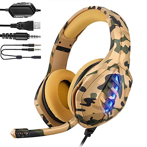 YJY Gaming Headset for PS4,PC, Xbox One Controller,Over Ear Gaming Headphones with Noise Cancelling Mic,7 Colors LED Light, Bass Surround, Soft Memory Earmuffs for Laptop Mac,Coma