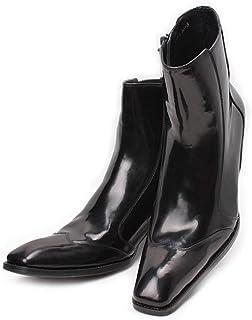 [ミスターハンサム] WOLF VALLEY メンズブーツ レザーブーツ ビジネスシューズ ロングノーズ 本革 ショートブーツ ジョニーハイヒールブーツ ウイングチップ 革靴 ドレスシューズ レースアップシューズ 紳士靴 8803-20