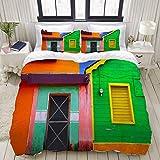 Copripiumino, case caraibiche in vivaci combinazioni di colori a Isla Mujeres, Messico, America Latina, foto, set di biancheria da letto, set di copripiumini in poliestere ultra comodi e leggeri (3 pe