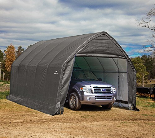 ShelterLogic 13' x 20' x 12' Garage-in-a-Box SUV and Full-Size Truck All-Season Metal Alpine Style Roof Portable Outdoor Garage (62693),Gray