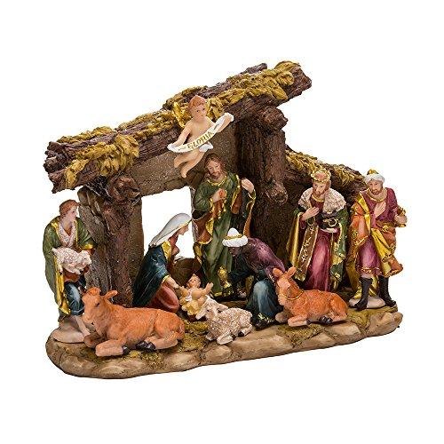 Kurt S. Adler Resin Stable-11-Piece Kurt Adler Nativity Set with Figures, 11 Piece