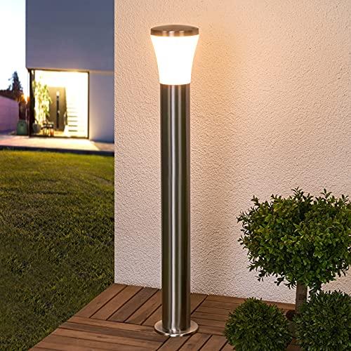 Lindby LED Außenleuchte 'Sumea' (spritzwassergeschützt) (Modern) in Alu aus Edelstahl (1 flammig, A+, inkl. Leuchtmittel) - Wegeleuchte, Pollerleuchte, Wegelampe, Sockelleuchte