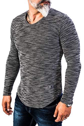 Rock Creek Herren Longsleeve Shirt Langarm Hoodie Sweatshirt Kapuzenpullover Langarmshirt Herrenpulli Street Style H-144 Schwarz XL