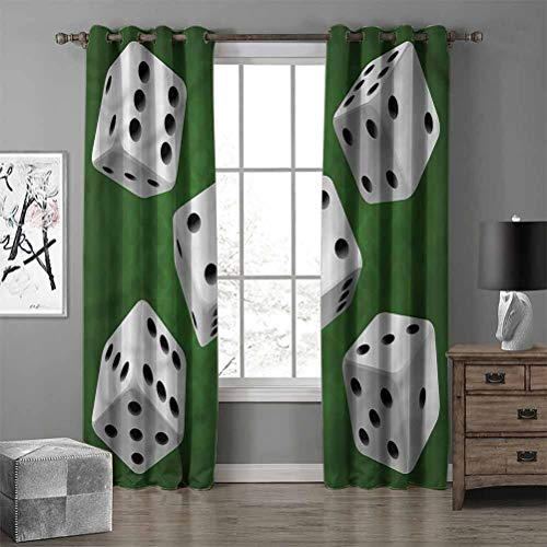RenteriaDecor Modern Modern Fashion Noise Reduction Curtains Casino Rolling Dice Set Thermal Insulated Solid Grommet Window Curtain W84 X L72 Inch