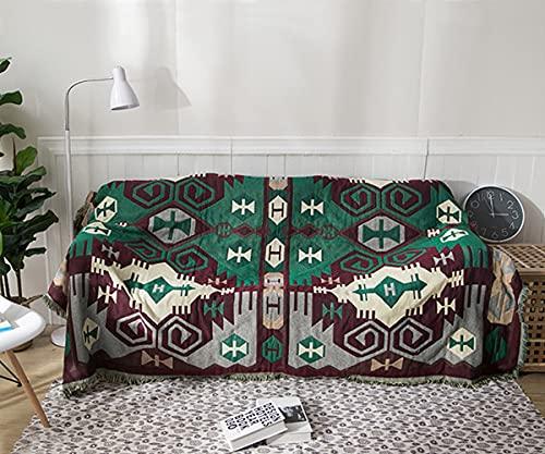 Manta de sofá Manta de Cama Manta de Silla Manta de Viaje Manta Decorativa Funda de sofá Tiro de Cama Edredón con Borla Patrón Geométrico étnico Retro 130 cm x 180 cm