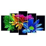 wangpdp Arte de la Pared de la Lona Cartel de impresión HD 5 Pintura Colorida de la Flor Cuadro de la Margarita Modular decoración del hogar Marco de la Sala de Estar