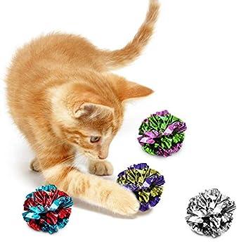 Mylar Crinkle Balls for Cats, jouet doux, léger et amusant pour les chatons et les chats adultes, jouet brillant et anti-stress, sons crépus intéressants, heures de divertissement, pack de 12