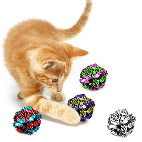 SunGrow Mylar Crinkle Balls for Cats, 1.5-2 Inches, Shiny and Stress Buster Toy, Lightweight and Suitable for Multiple Cats' Play, Ideal for Kittens and Grown-up Cats, 12-Pcs