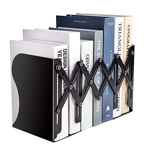 MDHAND - Sujetalibros Ajustables para Libros Pesados, Soportes para archivadores de revistas para Escritorio, Estante, Oficina, papelería, se extiende hasta 19 Pulgadas (Negro)
